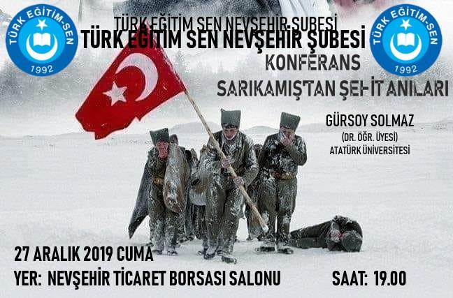 """""""SARIKAMIŞ'TAN ŞEHİT ANILARI"""" ADLI KONFERANS DÜZENLENECEKTİR."""